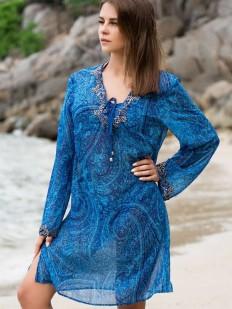 Синяя пляжная туника с вышивкой бисером и длинным рукавом
