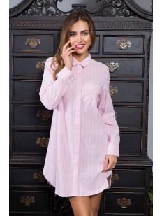 Женская хлопковая ночная рубашка в полоску розовая