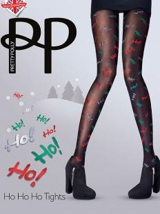 Цветные рождественские колготки с надписями HO-HO-HO 40 ден
