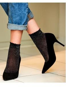Блестящие модные женские носки с золотым люрексом