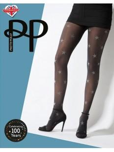 Матовые премиальные колготки 40 ден с блестящими серебристыми звездами