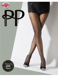 Блестящие женские колготки 30 ден с люрексом и геометрическим узором