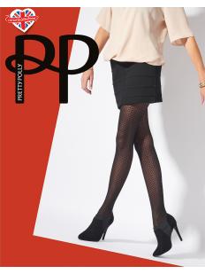 Черные женские колготки с фантазийным сетчатым рисунком соты 40 ден