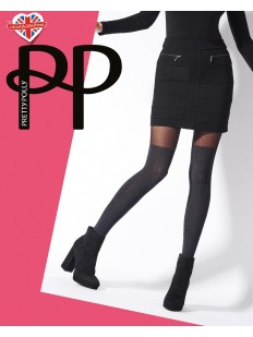 Черны женские колготки с имитацией серых ботфорт 40 ден