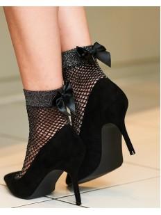 Модные женские носки в сетку с блестящей резинкой и бантиками