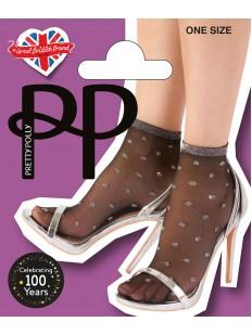 Модные нейлоновые носки в блестящий горошек из серебристого люрекса
