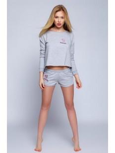 Женская хлопковая пижама с шортами и кофтой