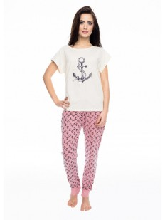 Женская хлопковая пижама со штанами и морским рисунком якорь