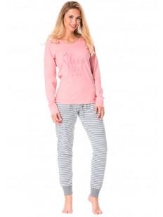Женская хлопковая пижама со штанами в полоску