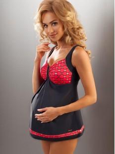 Раздельный купальник танкини для беременных  с красным лифом