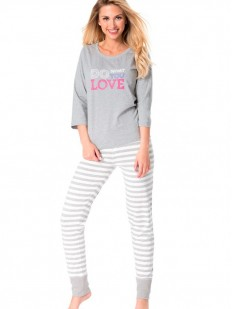 Хлопковая женская пижама в полоску со штанами Rossli