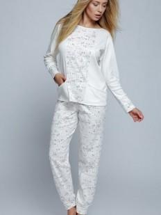 Теплая женская хлопковая пижама с принтом и карманами
