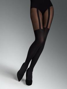 Черные колготки с имитацией чулок на подвязках 60 ден