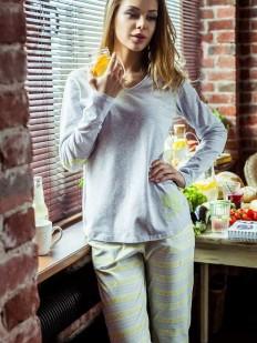 Теплая женская пижама хлопковая с полосатыми штанами KEY LNS