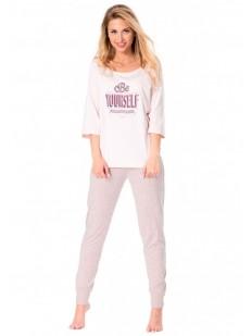Женская хлопковая пижама со штанами и кофтой