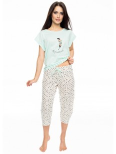 Женская хлопковая пижама с принтованными штанами