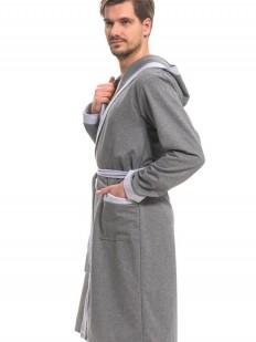 Серый хлопковый мужской халат с капюшоном