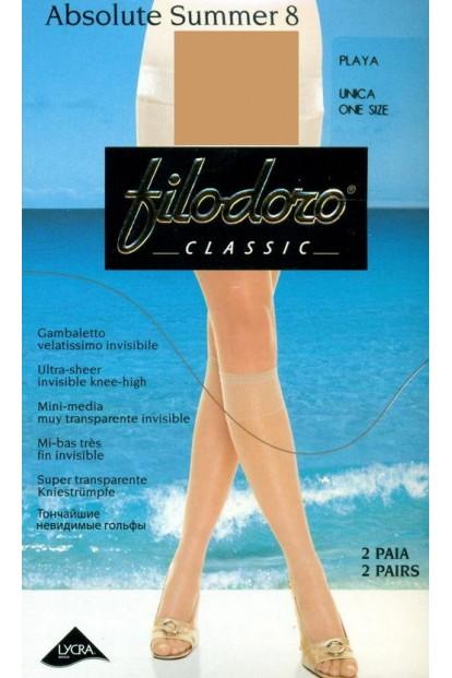 Тонкие капроновые женские гольфы 2 пары в комплекте Filodoro Classic Absolute 8 Gambaletto - фото 1