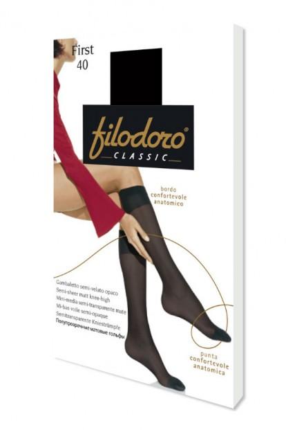 Эластичные капроновые женские гольфы Filodoro Classic FIRST 40 gambaletto - фото 1