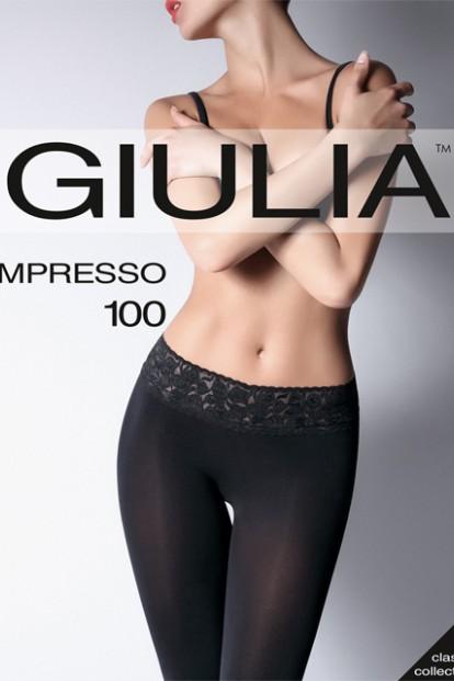 Плотные матовые колготки с кружевным поясом Giulia IMPRESSO 100 - фото 1