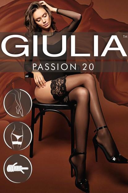 Тонкие матовые кружевные чулки Giulia PASSION 20 - фото 1