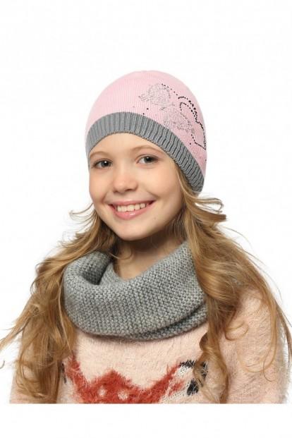 Детская шапка со стразами для девочек LARMINI LR-CAP-156342 - фото 1
