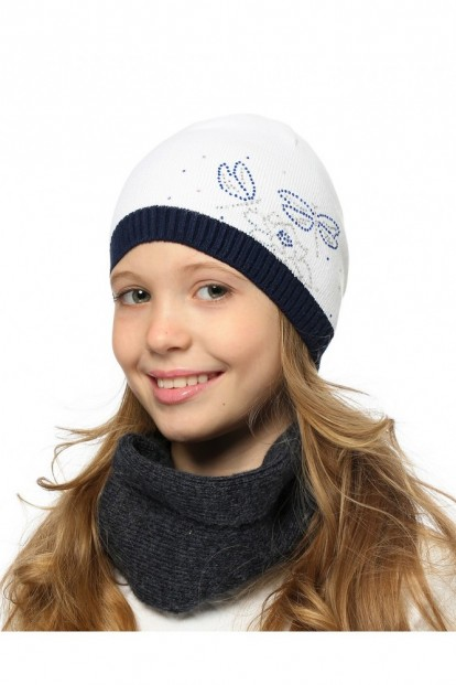 Детская шапка со стразами для девочек LARMINI LR-CAP-156344 - фото 1