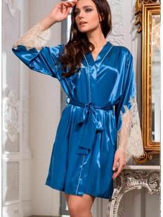 Шелковый женский синий халат с кружевным рукавом