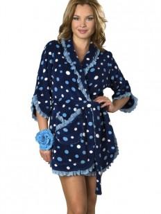 Короткий женский хлопковый халат в горошек