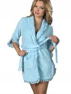 Короткий женский голубой халат из хлопка