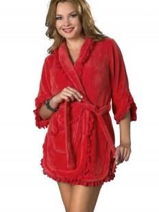 Короткий женский красный халат из хлопка