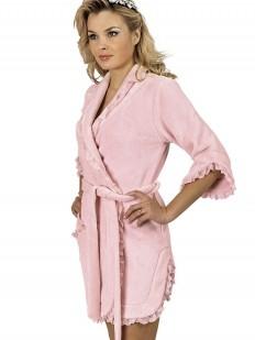 Короткий женский хлопковый халат розовый