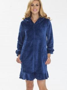 Женский теплый хлопковый халат на молнии с капюшоном синий
