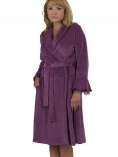 Женский хлопковый фиолетовый халат с длинным рукавом