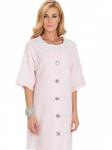 Женский хлопковый розовый халат на пуговицах