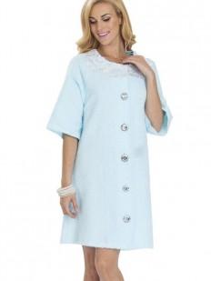 Домашний женский хлопковый халат на пуговицах голубой