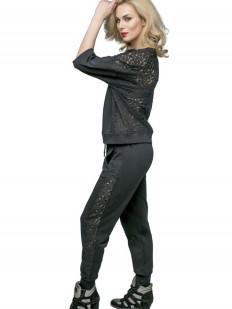 Черный спортивный домашний женский костюм с брюками