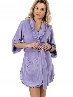 Короткий женский хлопковый халат сиреневый
