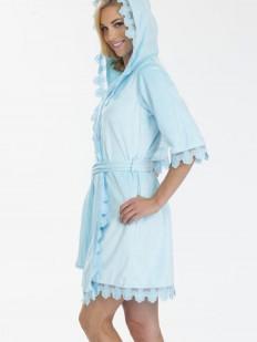 Хлопковый женский махровый халат голубой с капюшоном