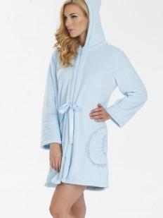 Теплый женский махровый халат на молнии с капюшоном