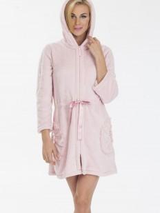 Хлопковый женский махровый халат на молнии с капюшоном