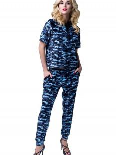 Синий велюровый домашний женский костюм цвета милитари
