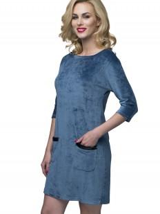 Домашнее женское велюровое платье с карманами