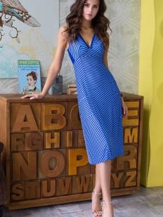 Длинное летнее платье комбинация синяя в полоску