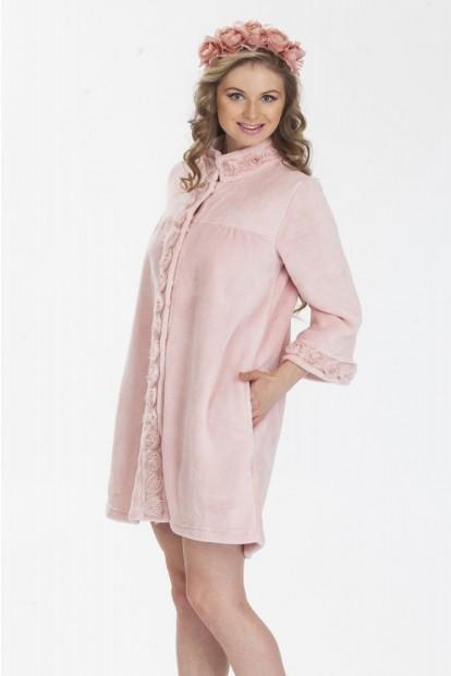 Женский хлопковый короткий пудровый халат на кнопках Lelio 789 - фото 1