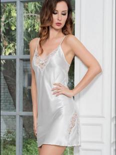 Белая атласная ночная сорочка с кружевными вставками Mia-Mella Mirabella