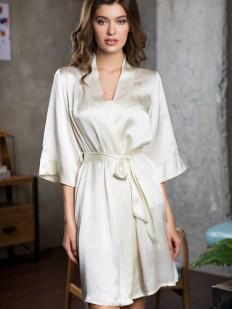 Шелковый женский летний халат кимоно в молочном цвете
