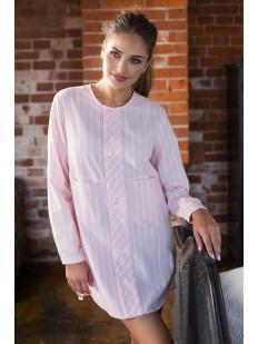 Женская хлопковая розовая ночная рубашка в полоску