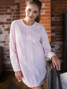 Женская хлопковая розовая ночная рубашка в полоску Mia-Mia Cindy