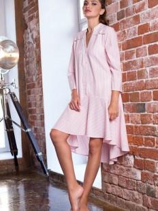 Розовое женское хлопковое платье рубашка в полоску Mia-Mia Cindy